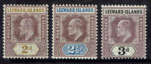 LEEWARD ISLANDS 1902 KEVII 2D 21/2D 3D WMK CROWN CA