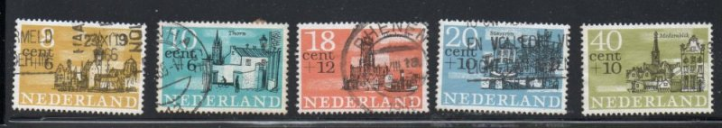 Netherlands Sc B397-401 1965 Buildings Charity stamp set used