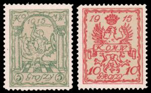 Poland 1915 5g GREEN ON BISTER & 10g RED 0N BISTER MINT and Michel @ €55.00...