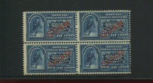 Guam E1a Special Delivery Mint Block of 4 Stamps NH with PF Cert (Bz 63)
