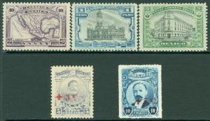 EDW1949SELL : MEXICO 1918-20 Scott #626-28 Also #B1-2 VF, Mint OG. Catalog $161.