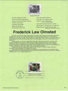 US SP1323 Frederick Law Olmsted 3338 Souvenir Page FDC
