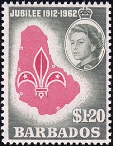 Barbados # 256 mnh ~ $1.20 Scout Emblem on Map of Barbados