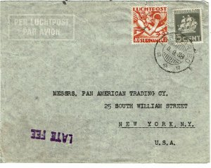 Surinam 1938 Paramaribo cancel on airmail cover to the U.S., Late Fee handstamp