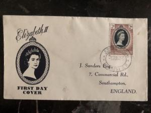 1953 Bechuanaland First Day Cover Queen Elizabeth 2 coronation QE2 To England