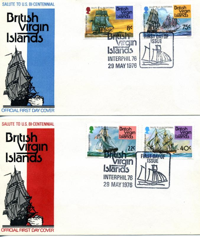 1976 British Virgin Islands Scott 309-312 First Day Covers US BiCentennial Ship