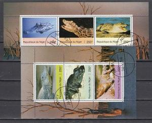 Niger, 1999 Cinderella issue. Crocodiles on 2 sheets of 3. Canceled.