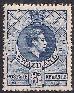 Swaziland 1938 - 54 KGV1 3d Deep Blue MM SG 32d ( F1425 )