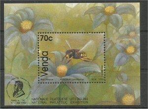VENDA, 1992, MNH 70c MS, Bees Scott 242