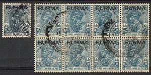 BURMA GV 1037 3a6p dull blue block of 8 fine used SG8b scarce..............17638