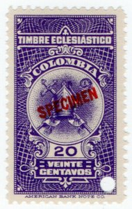 (I.B) Colombia Revenue : Church Tax 20c (ABN Specimen)