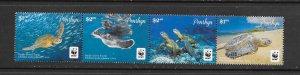 Penrhyn MNH Strip 544a-d Pacific Green Turtle WWF SCV 1.00