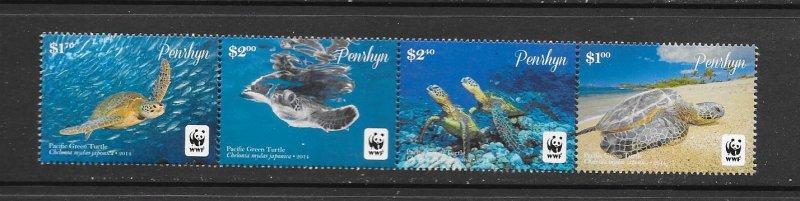 Penrhyn MNH Strip 544a-d Pacific Green Turtle WWF SCV 11.00