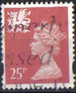 GREAT BRITAIN, WALES, used 25p,WMMH60 Machins