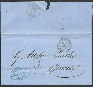 ITALY 1862 entire GENOA to IMOLA...........................................61817