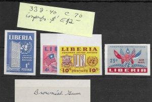 Liberia #338-340 MH - Imperf Set