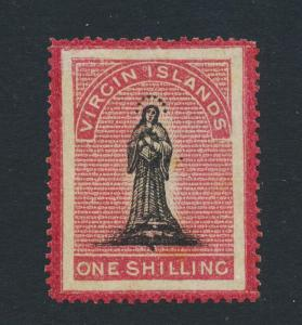 BRITISH VIRGIN IS 1867, 1sh VF MINT POG SG#14 (SEE BELOW)