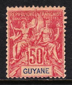 FRENCH GUIANA — SCOTT 46 — 1892 50c CARMINE ON ROSE — MH — SCV $32.50