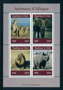 CHAD  2019  AFRICAN ANIMALS  SHEET OF FOUR  MINT NH