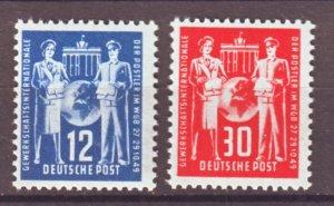 J22304 Jlstamp 1949 germany ddr set mnh #49-50 the mail