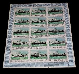 1968, FUJEIRA, SAILING SHIPS, WAR SHIPS, SHEET OF 15, LOT #4, MNH, NICE! LQQK!