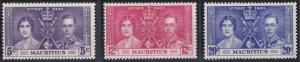Mauritius 208-210 MNH (1937)