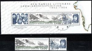 Greenland #407-8, 408a F-VF Used CV $28.00 (X5518L)