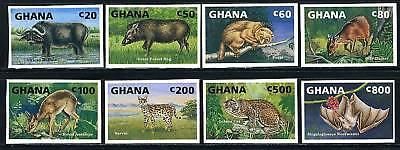 GHANA SCOTT# 1537-44 WILDLIFE BAT TIGER IMPERF SET MNH
