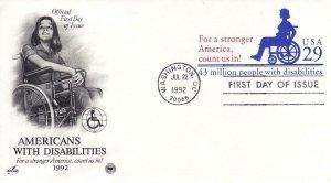 1992, Americans W/Disabilities Printed Envelope, Artcraft/ PCS, FDC (E8082)