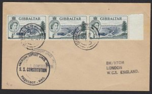 GIBRALTAR 1957 Ship cover - cachet SS CONSTITUTION..........................H318