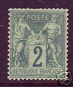France Sc 65 MLH.1876 2c green on greenish Peace & Commerce, Type I, Choice
