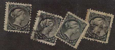 Canada - 1882 Half Cent Small Queens X 4 used #34