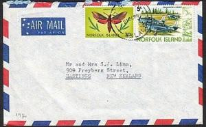 NORFOLK IS 1980 airmail cover to New Zealand - mixed issues franking.......77378