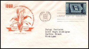US 942 Iowa Statehood House of Farnam Typed FDC