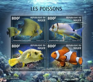 NIGER - 2019 - Fishes - Perf 4v Sheet - MNH