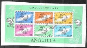 Anguilla 1974 UPU Sheet of 6, used, Scott #204a.