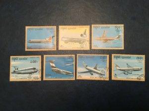ICOLLECTZONE Cambodia #1152-58 XF Used Airplanes (Bk1-30)