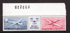 Belgium  #C12A   MNH 1951  gliders   aero club  strip of two + label