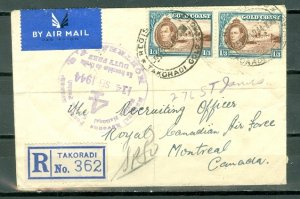 GOLD COAST 1944 #124x2 on REGISTERED AIR COVER to CANADA...DUTY FREE CACHET