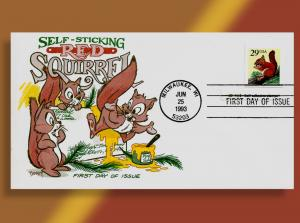 Red Squirrel 'Self-Sticks' Himself to Mail!  ••• FDC Customized for YOU!