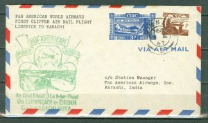 IRELAND 1947 CLIPPER FIRST FLIGHT AIR COVER TO INDIA