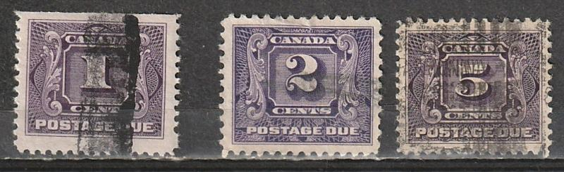 J1,J2,J4 Canada Used Postage Due