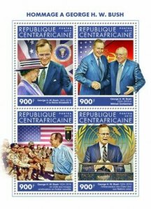 HERRICKSTAMP NEW ISSUES CENTRAL AFRICA George H.W. Bush Sheetlet