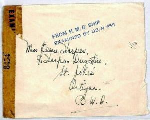 ANTIGUA WW2 Naval Cover From CANADIAN SHIP CENSOR 1944 USA Tape {samwells}CS261