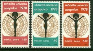 MEXICO C570-C572, Miss Universe Contest, Acapulco. MINT, NH. F-VF.