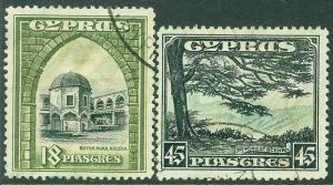 EDW1949SELL : CYPRUS 1934 Scott #134-35 Very Fine, Used. Catalog $135.00.