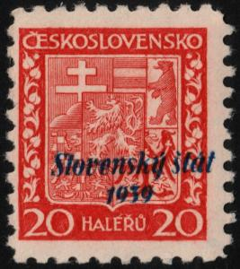 ✔️ SLOVAKIA 1939 - DOWNWARDS SHIFTED OVERPRINT - SIGNED - SC.4 MNH OG [SK004X]