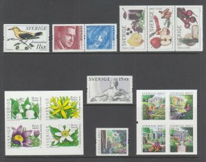 Sweden Sc 2505-2511, MNH. 2005 issues, run of 6 complete sets, fresh, bright, VF