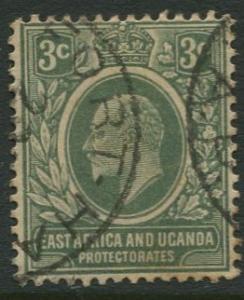 East Africa & Uganda -Scott 32- KEVII Definitive -1907 -Used -Single 3c Stamp