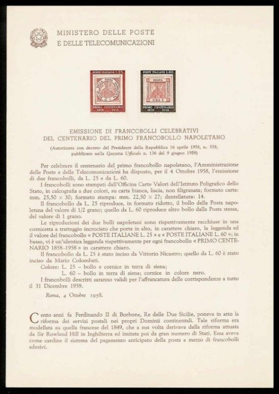 Italy 1958 Naples Stamps Ministry of Posts Bulletin